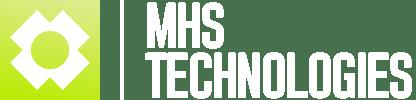 Das Logo von MHS Technologies mit weißer Schrift