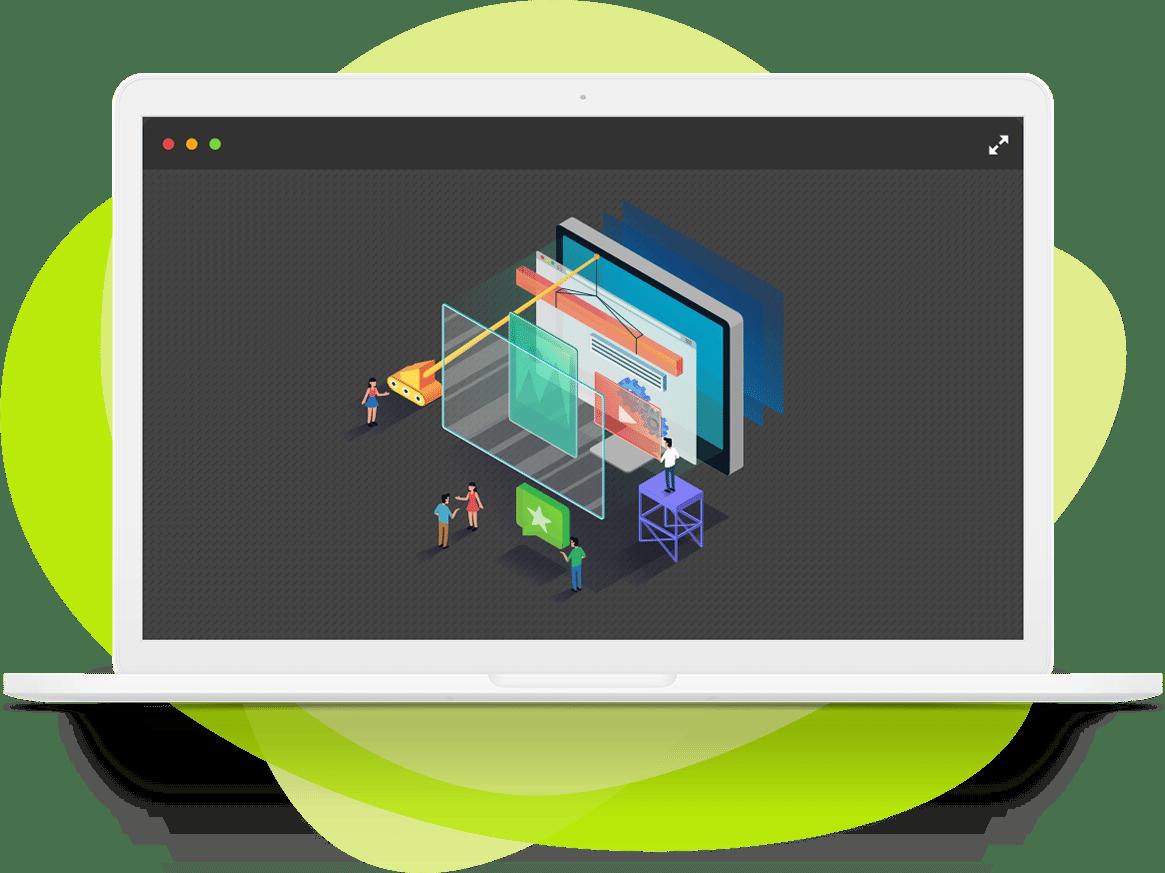 Die Entwicklung von Webandwendungen dargestellt auf einem Macbook